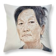 Portrait Of A Chinese Woman With A Mole On Her Chin Throw Pillow