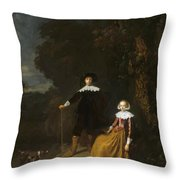 Portrait Of A Couple In A Landscape Throw Pillow