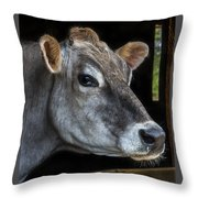 Portrait Of A Cow Throw Pillow