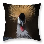 Portrait Of A Crowned Crane 2 Throw Pillow