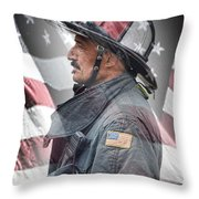 Portrait Of A Fire Fighter Throw Pillow