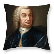 Portrait Of A Gentleman Half Length Wearing A Wig And A Blue Velvet Cape Throw Pillow