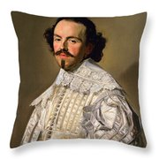 Portrait Of A Gentleman In White Throw Pillow