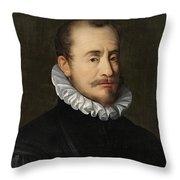 Portrait Of A Gentleman Workshop Of Hans Von Aachen - Circa 1600 Throw Pillow