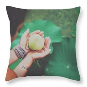 Portrait Of A Girl Holding Gently A Lotus Flower In Her Hands Throw Pillow