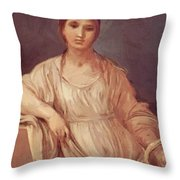 Portrait Of A Girl With Crown 1642 Throw Pillow