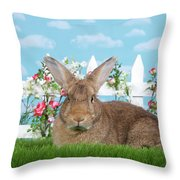 Portrait Of A Gregarious Brown Bunny Throw Pillow
