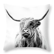 Portrait Of A Highland Cow Throw Pillow