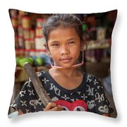 Portrait Of A Khmer Girl - Cambodia Throw Pillow