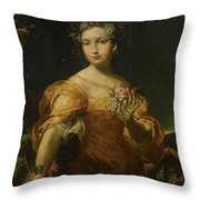 Portrait Of A Lady, Allegory Of Abundantia Throw Pillow