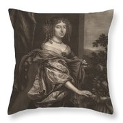 Portrait Of A Lady Beside A Rose Bush Throw Pillow