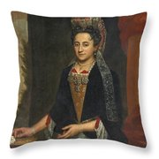Portrait Of A Lady Half Length In A Mantua Gown And Lace Frelange Headdress Throw Pillow