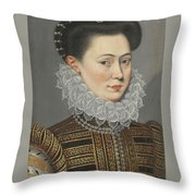 Portrait Of A Lady Head And Shoulders In A Lace Ruff Throw Pillow