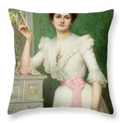 Portrait Of A Lady Holding A Fan Throw Pillow by Jules-Charles Aviat