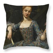 Portrait Of A Lady In An Elaborately Embroidered Blue Dress Throw Pillow