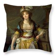 Portrait Of A Lady In Turkish Fancy Dress Throw Pillow