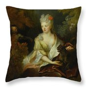 Portrait Of A Lady Seated In A Landscape With Her Pet Dog And A Monkey Throw Pillow