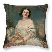 Portrait Of A Lady Sitting Under A Pergola Throw Pillow