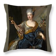 Portrait Of A Lady Three-quarter-length Holding Flowers Throw Pillow