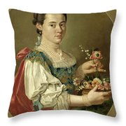 Portrait Of A Lady With A Flower Basket Throw Pillow