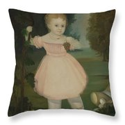Portrait Of A Little Girl Picking Grapes Throw Pillow