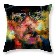 Portrait Of A Man In Sunglass Smoking A Cigar In The Sunshine Wearing A Hat And Riding A Motorcycle In Pink Green Yellow Black Blue Oil Paint With Raking Light To Pick Up Paint Texture Throw Pillow