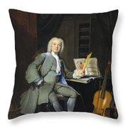 Portrait Of A Member Of The Van Der Mersch Family, 1736 Throw Pillow