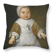 Portrait Of A One-year-old Girl Of The Van Der Burch Family Three-quarter Length Throw Pillow