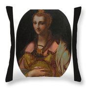 Portrait Of A Richly Dressed Lady Throw Pillow