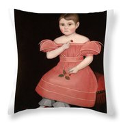 Portrait Of A Rosy Cheeked Young Girl In A Pink Dress Throw Pillow