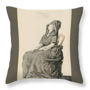 Portrait Of A Seated Woman Throw Pillow