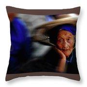 Portrait Of A Senior Lady In Yun Nan, China Throw Pillow
