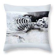 Portrait Of A Skeleton Throw Pillow