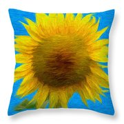 Portrait Of A Sunflower Throw Pillow
