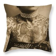 Portrait Of A Tattooed Woman Throw Pillow