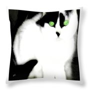Portrait Of A White Cat Throw Pillow