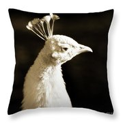 Portrait Of A White Peacock Throw Pillow