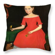 Portrait Of A Winsome Young Girl In Red With Green Slippers Dog And Bird Throw Pillow