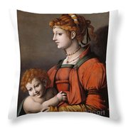 Portrait Of A Woman And Child - Allegory Of Liberality Throw Pillow