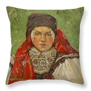 Portrait Of A Woman In A Red Scarf Throw Pillow