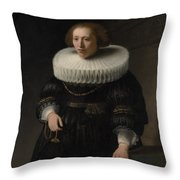 Portrait Of A Woman Probably A Member Of The Van Beresteyn Family Throw Pillow