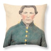 Portrait Of A Young  Civil War Soldier 3 Throw Pillow