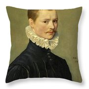 Portrait Of A Young Gentleman Head And Shoulders At The Age Of 23 Throw Pillow