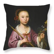 Portrait Of A Young Girl As A Shepherdess Holding A Sprig Of Flowers Throw Pillow