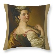 Portrait Of A Young Girl As A Shepherdess Throw Pillow