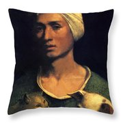 Portrait Of A Young Man With A Dog And A Cat Throw Pillow