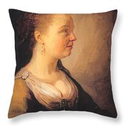 Portrait Of A Young Woman 1640 Throw Pillow