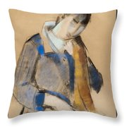Portrait Of A Young Woman Combing Her Hair Throw Pillow