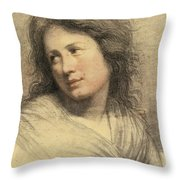 Portrait Of A Young Woman Looking Over Her Shoulder Throw Pillow