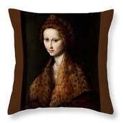 Portrait Of A Young Woman Wearing A Robe With A Fur Collar Throw Pillow